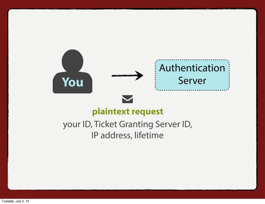 your ID, Ticket Granting Server ID, IP address,...