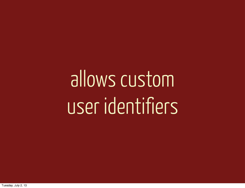 allows custom user identifiers Tuesday, July 2,...