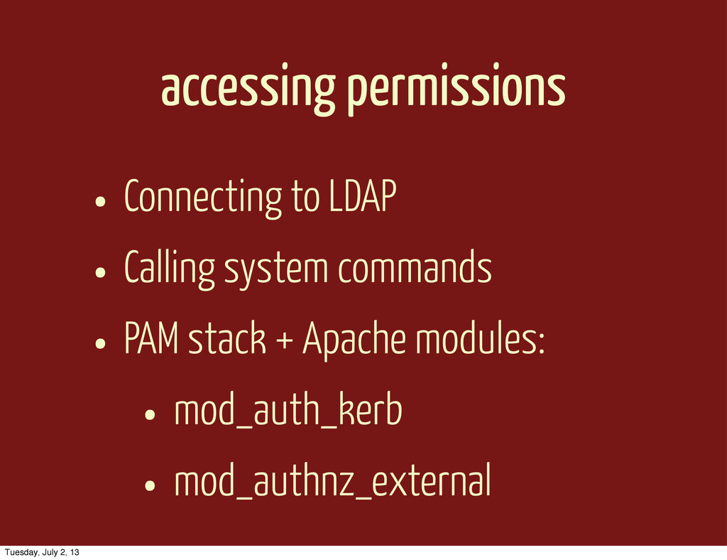 accessing permissions • Connecting to LDAP • Ca...