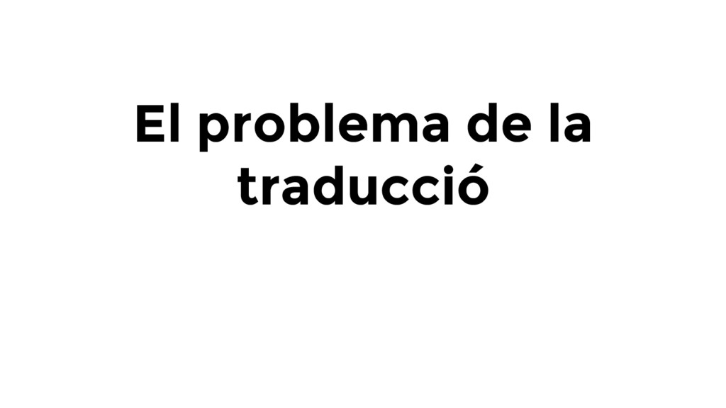 El problema de la traducció