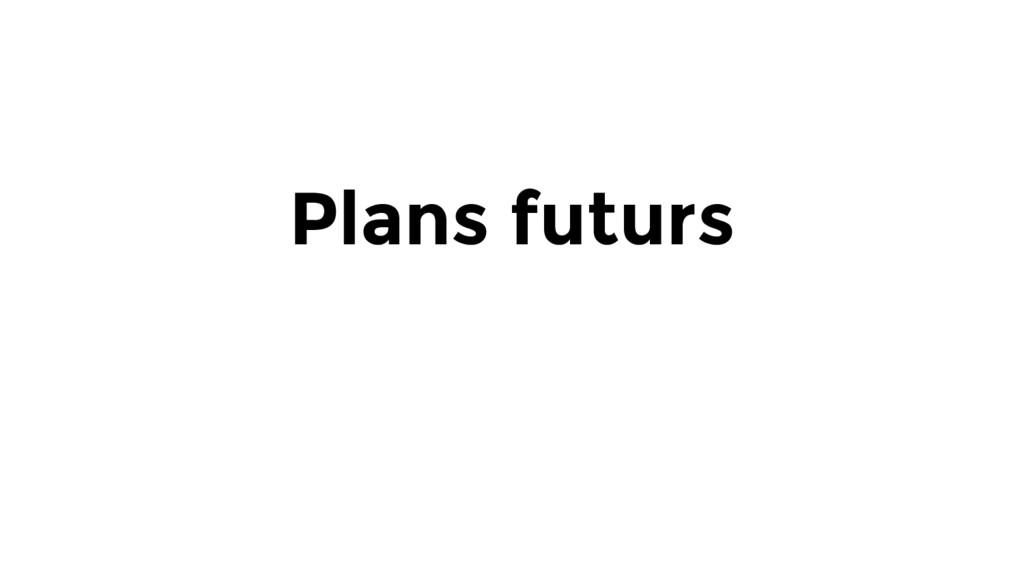 Plans futurs