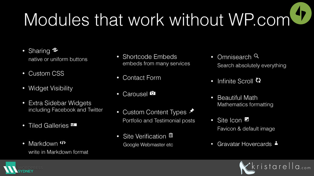 Modules that work without WP.com • Sharing  n...