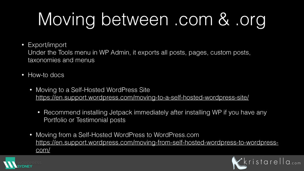 Moving between .com & .org • Export/import Und...