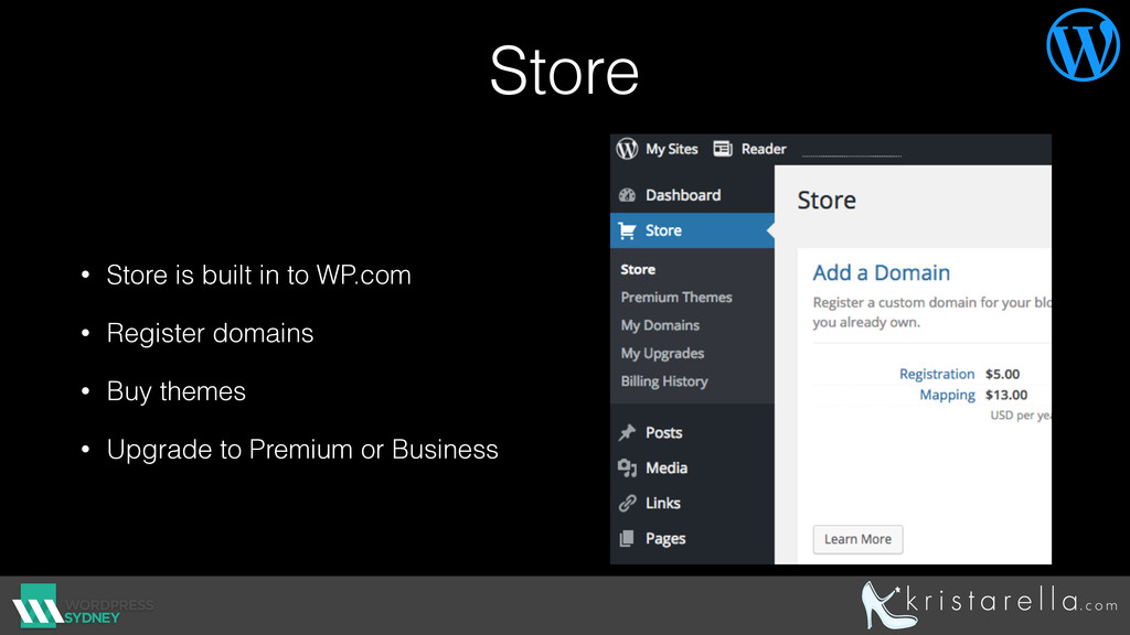 Store • Store is built in to WP.com • Register ...