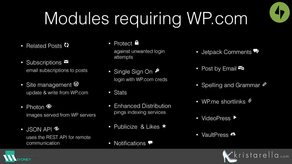 Modules requiring WP.com • Related Posts  • Su...