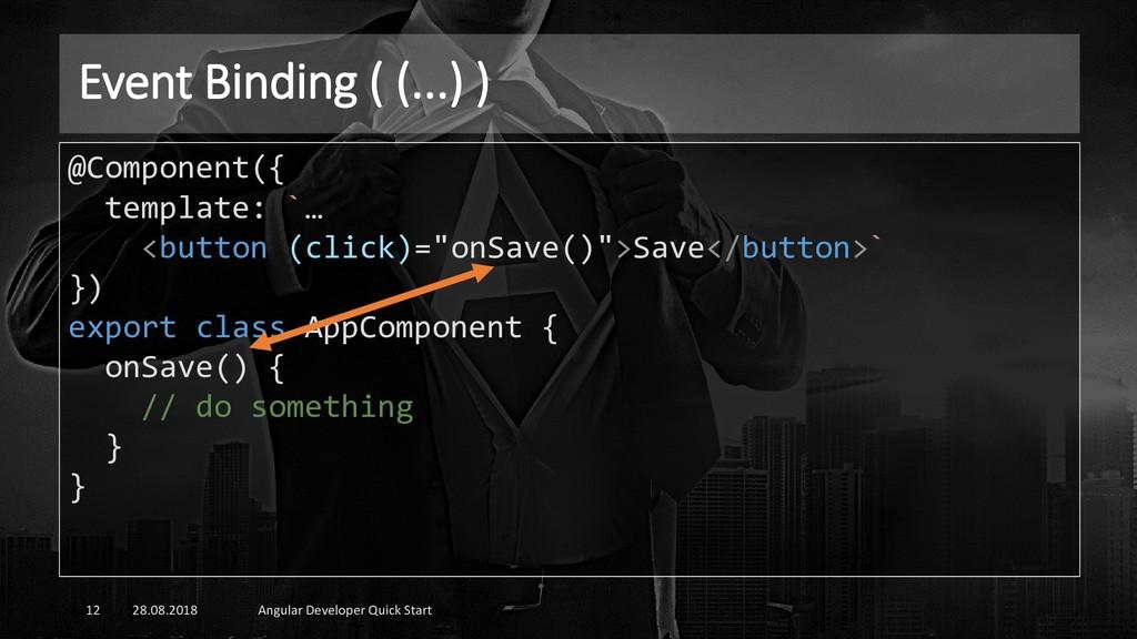 Event Binding ( (...) ) 28.08.2018 Angular Deve...