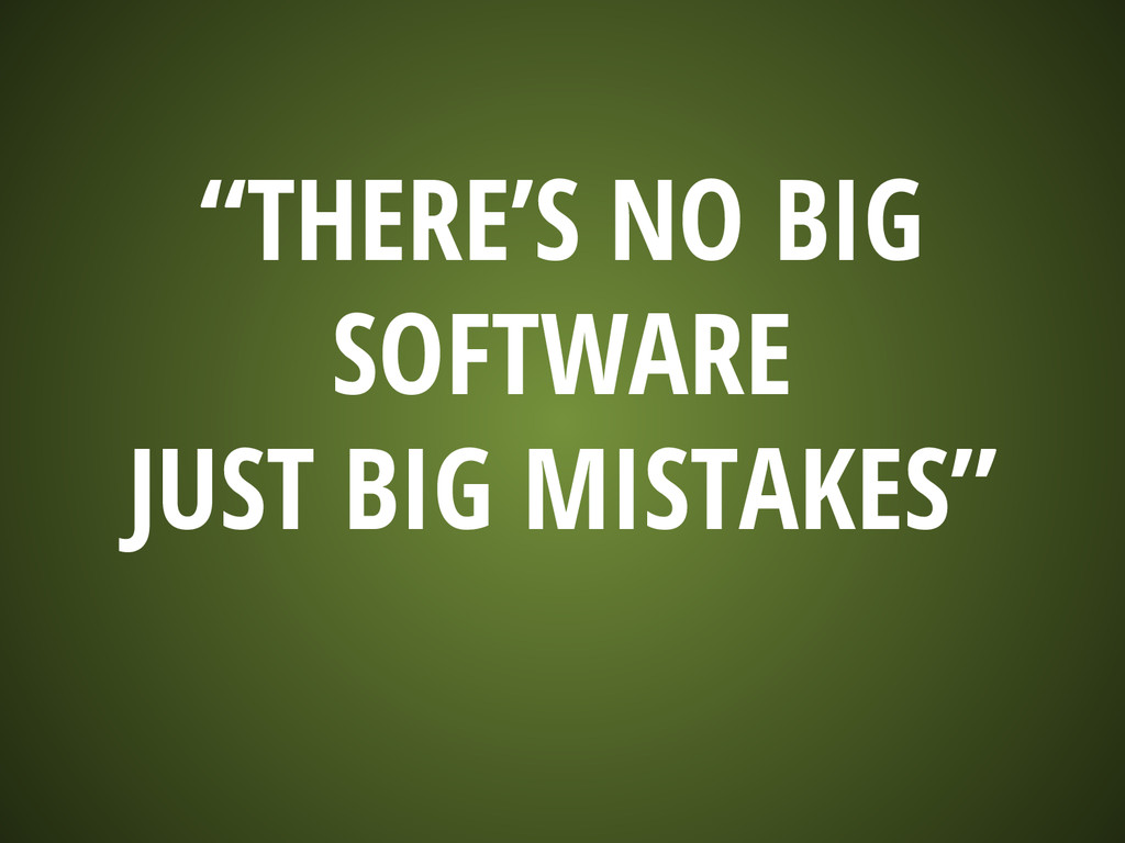 """""""THERE'S NO BIG SOFTWARE JUST BIG MISTAKES"""""""