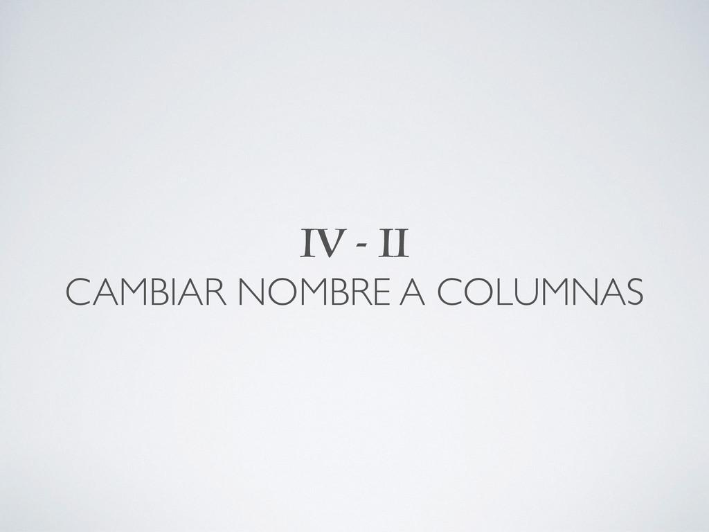 IV - II CAMBIAR NOMBRE A COLUMNAS
