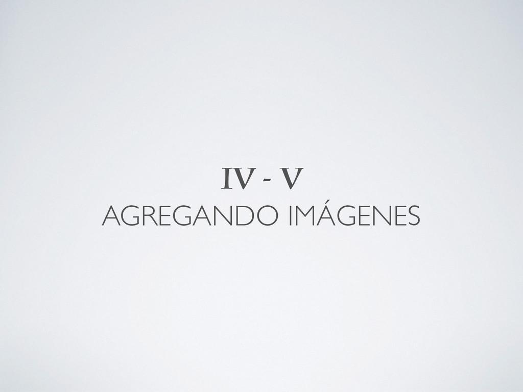 IV - V AGREGANDO IMÁGENES