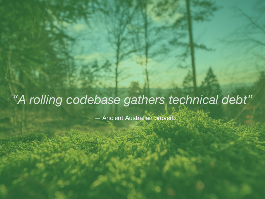 """A rolling codebase gathers technical debt"" — A..."