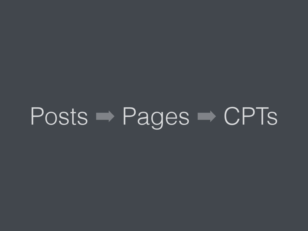 Posts ➡ Pages ➡ CPTs