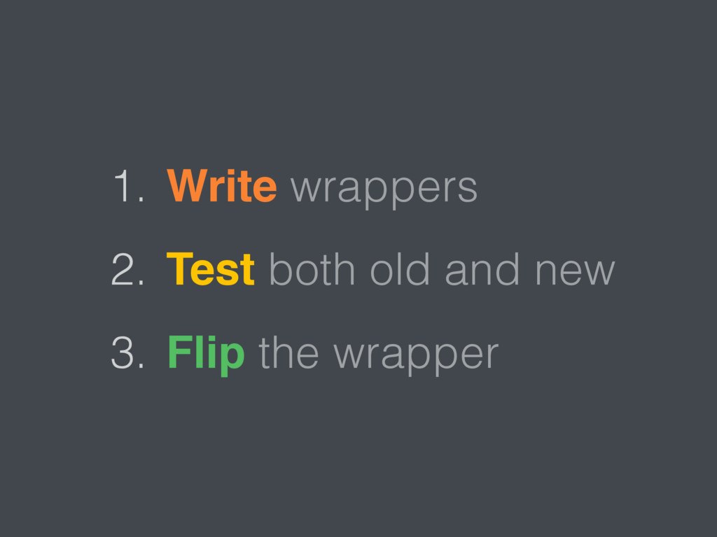 1. Write wrappers 2. Test both old and new 3. F...