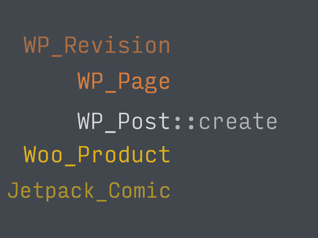 WP_Post::create WP_Page Woo_Product WP_Revision...