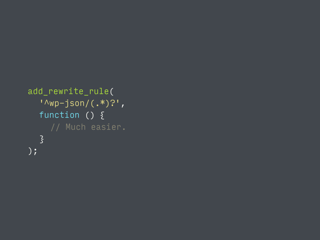 function () { // Much easier. } ); add_rewrite_...