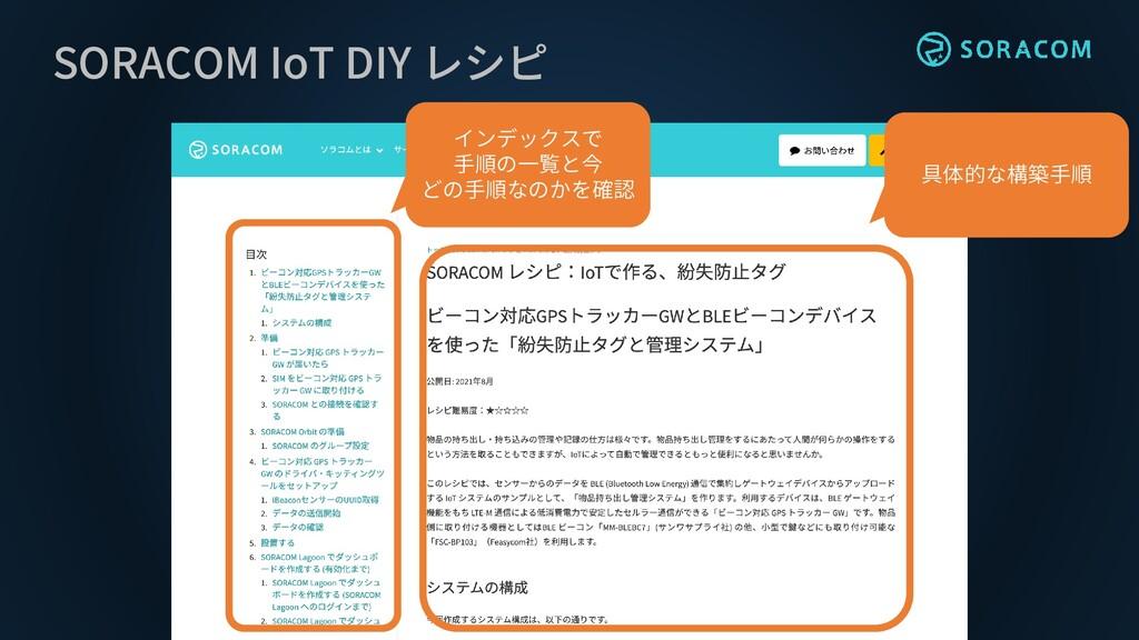 SORACOM IoT DIY レシピ インデックスで 手順の一覧と今 どの手順なのかを確認 ...