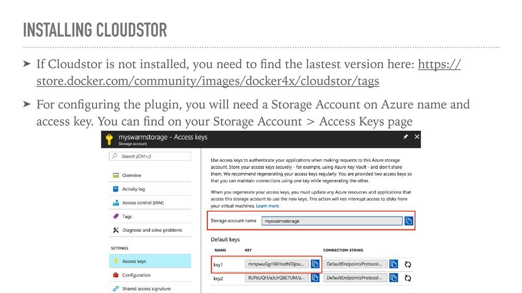 INSTALLING CLOUDSTOR ➤ If Cloudstor is not inst...