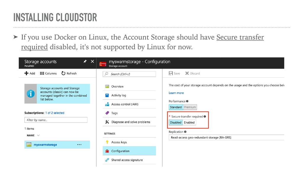 INSTALLING CLOUDSTOR ➤ If you use Docker on Lin...