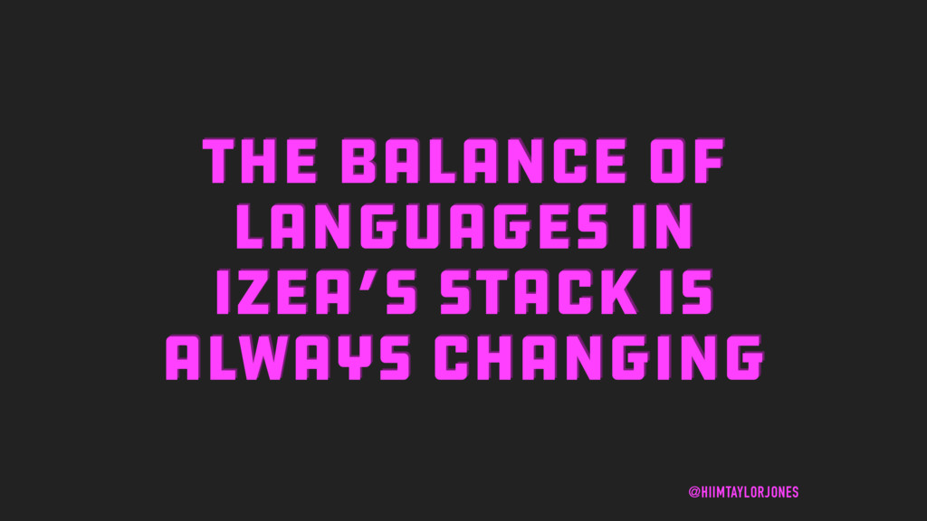 THE BALANCE OF LANGUAGES IN IZEA'S STACK IS ALW...