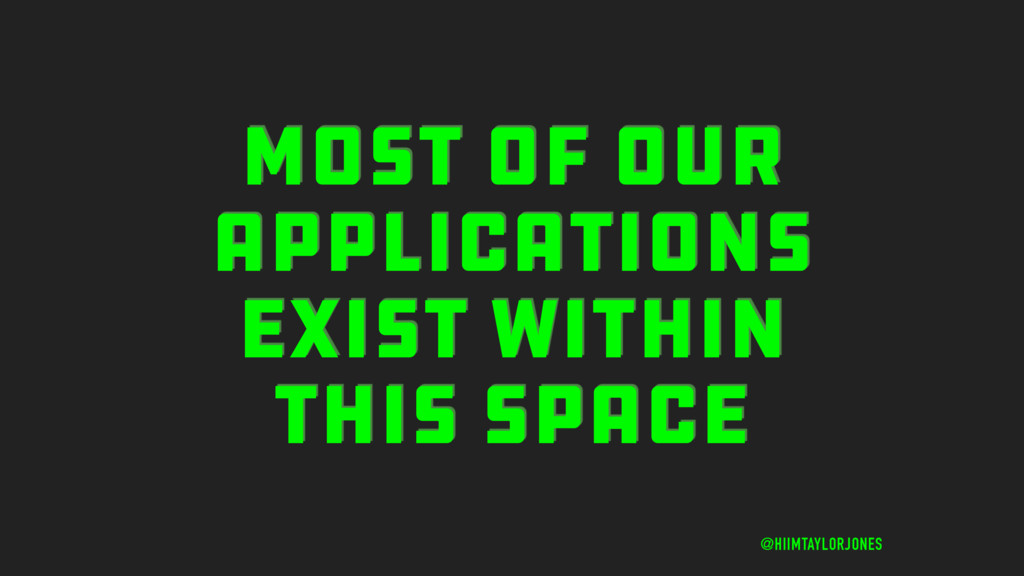MOST OF OUR APPLICATIONS EXIST WITHIN THIS SPAC...