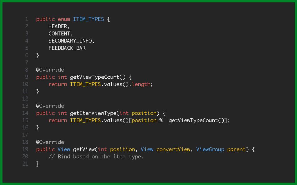 public enum ITEM_TYPES { HEADER, CONTENT, SECON...