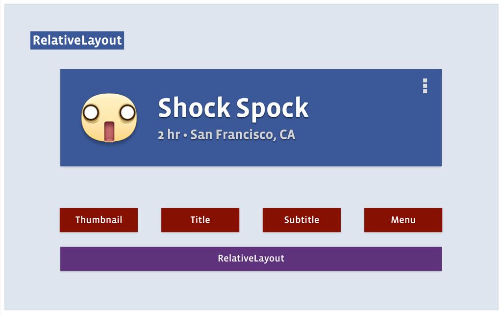 RelativeLayout Shock Spock 2 hr • San Francisco...