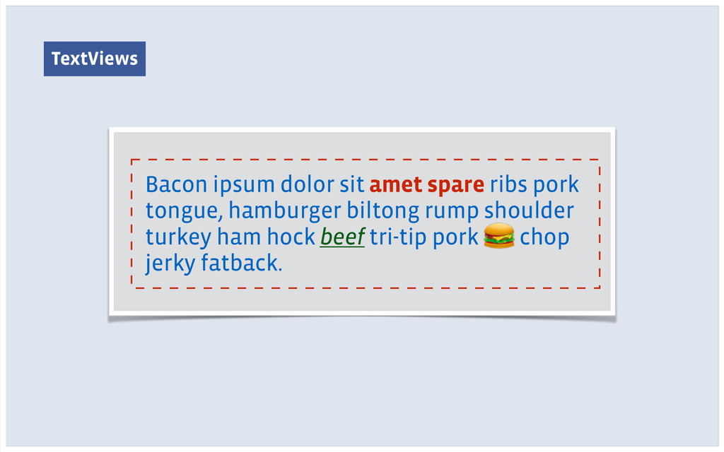 TextViews Bacon ipsum dolor sit amet spare ribs...
