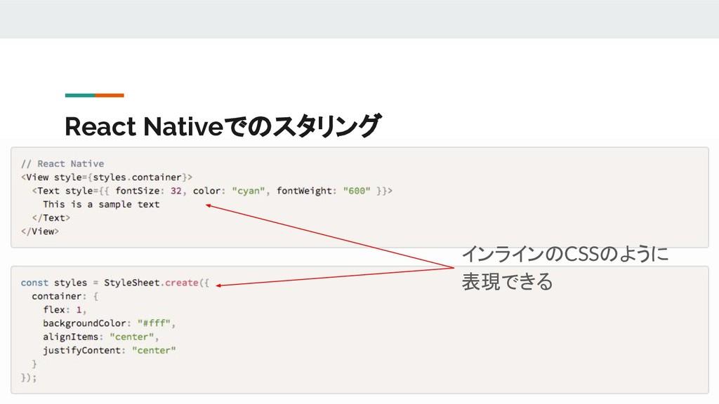 React Nativeでのスタリング インラインのCSSのように 表現できる