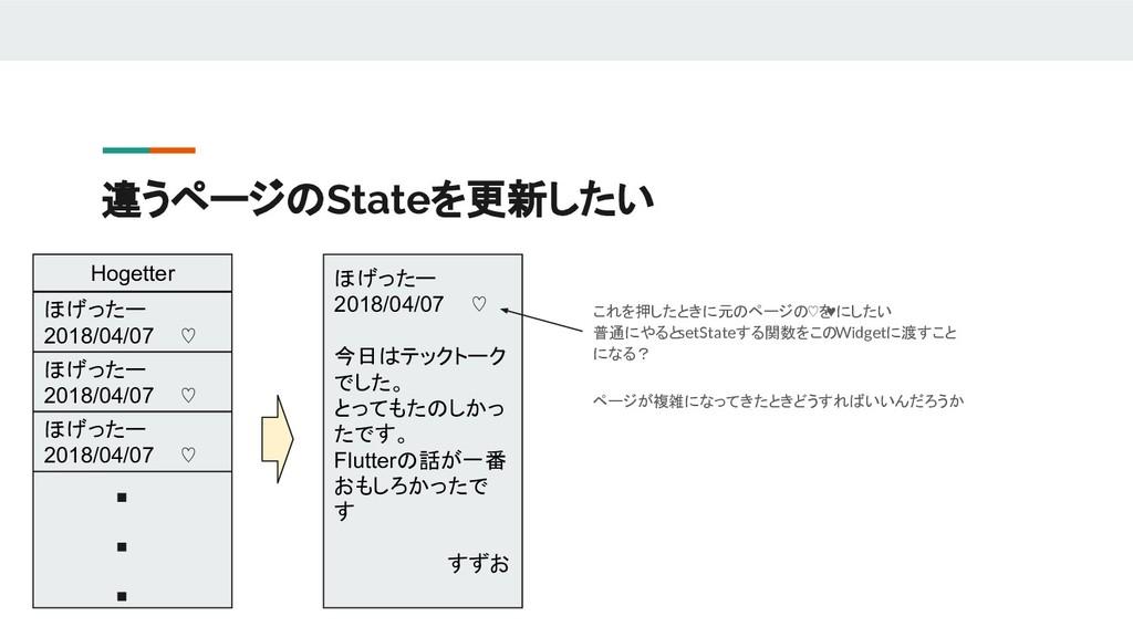 違うページのStateを更新したい ほげったー 2018/04/07 ♡ ほげったー 2018...