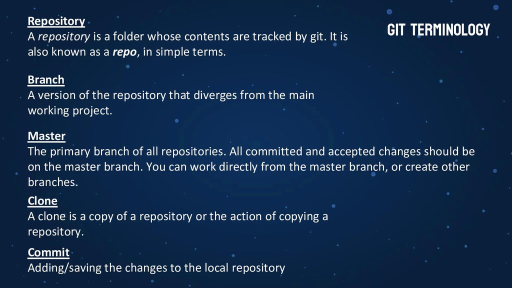 GIT terminology Branch A version of the reposit...