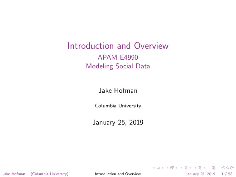 Introduction and Overview APAM E4990 Modeling S...