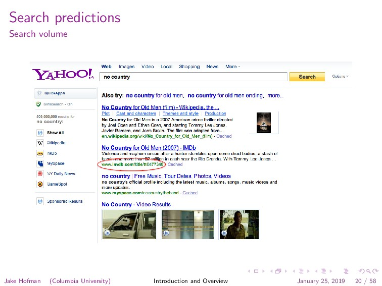Search predictions Search volume Jake Hofman (C...