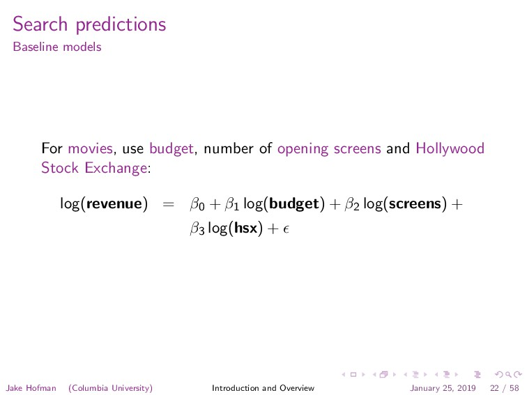 Search predictions Baseline models For movies, ...