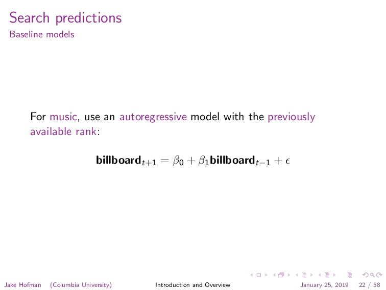 Search predictions Baseline models For music, u...