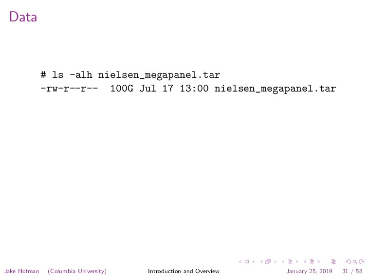 Data # ls -alh nielsen_megapanel.tar -rw-r--r--...