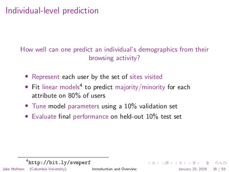 Individual-level prediction How well can one pr...
