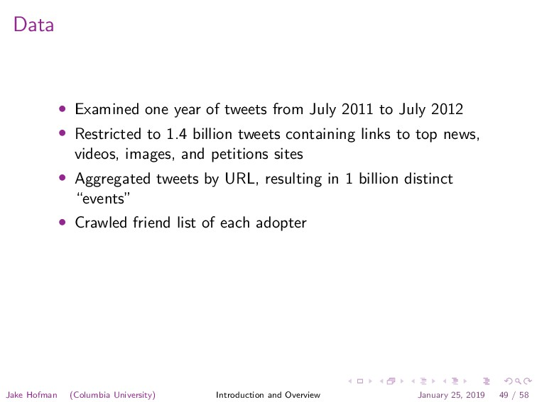 Data • Examined one year of tweets from July 20...