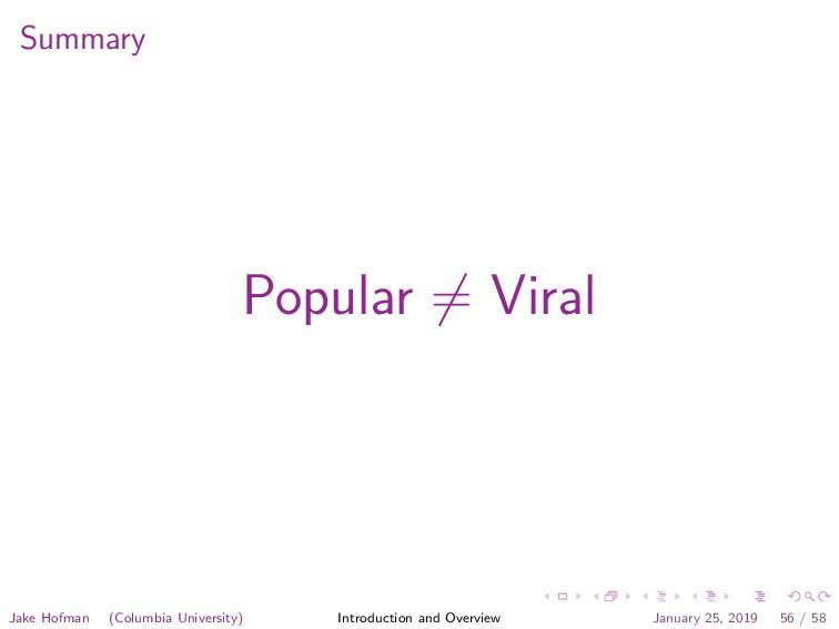 Summary Popular = Viral Jake Hofman (Columbia U...