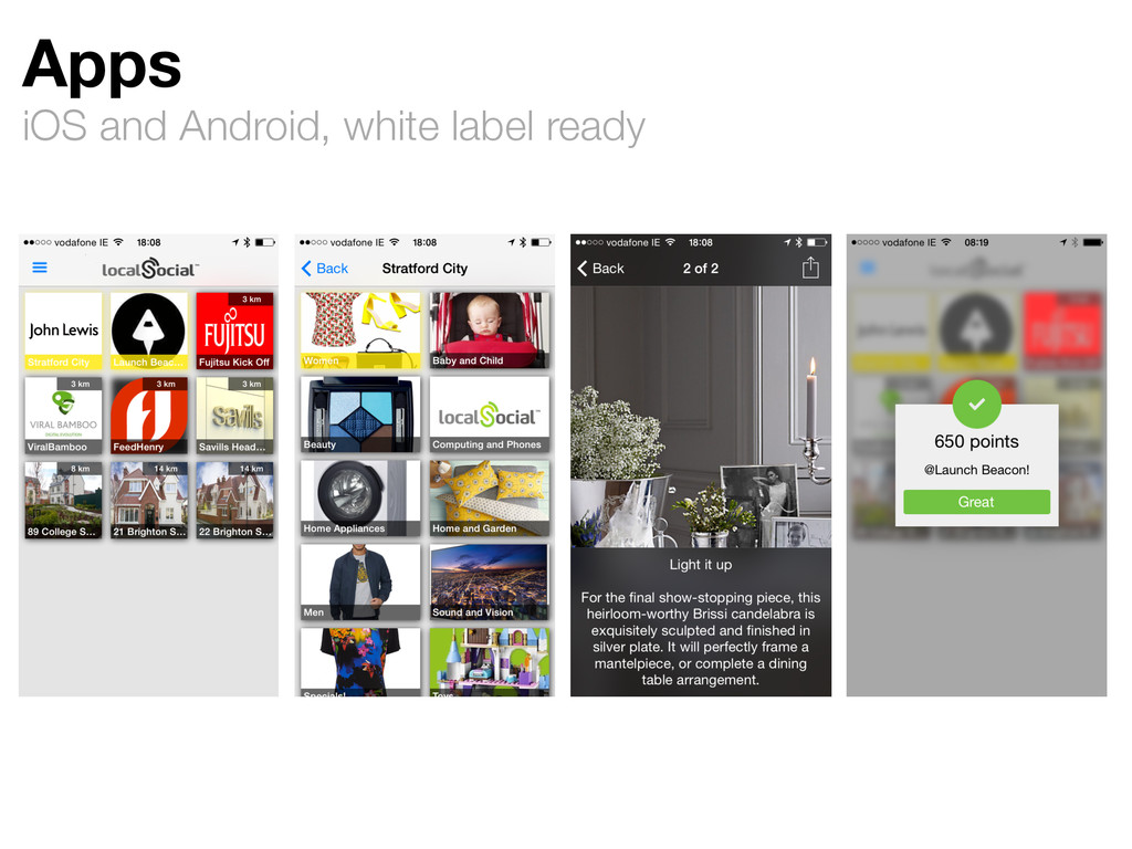 Apps iOS and Android, white label ready