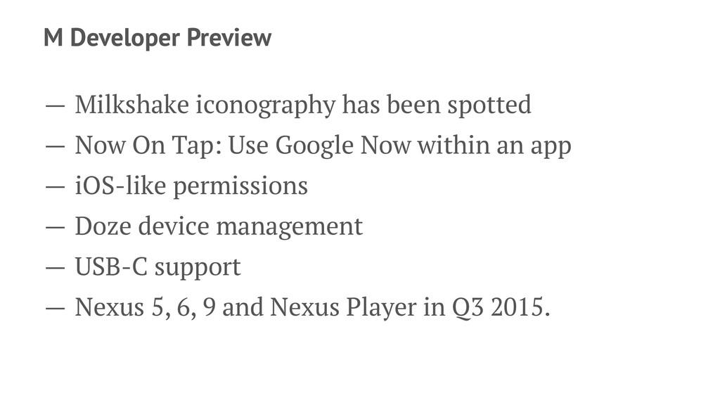 M Developer Preview — Milkshake iconography has...