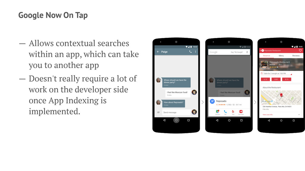 Google Now On Tap — Allows contextual searches ...