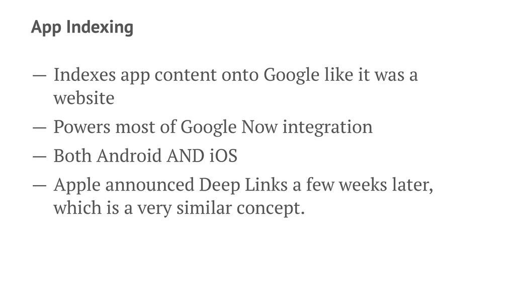 App Indexing — Indexes app content onto Google ...