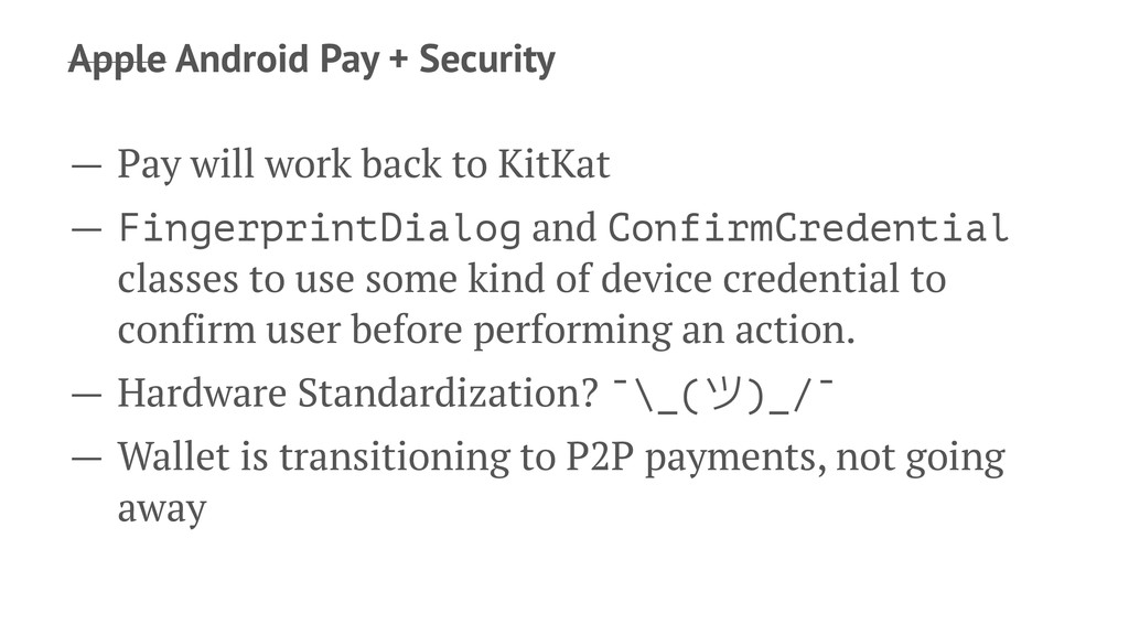 Apple Android Pay + Security — Pay will work ba...