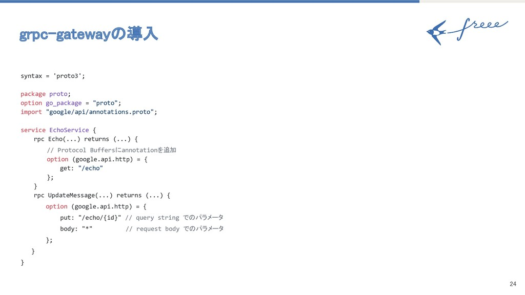 24 grpc-gatewayの導入 syntax = 'proto3'; package...