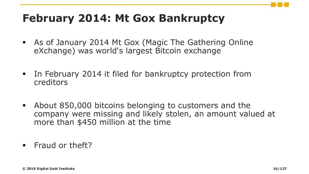 February 2014: Mt Gox Bankruptcy ▪ As of Januar...