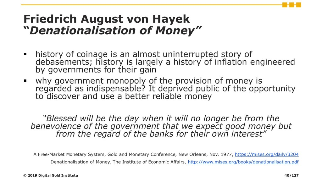 "Friedrich August von Hayek ""Denationalisation o..."