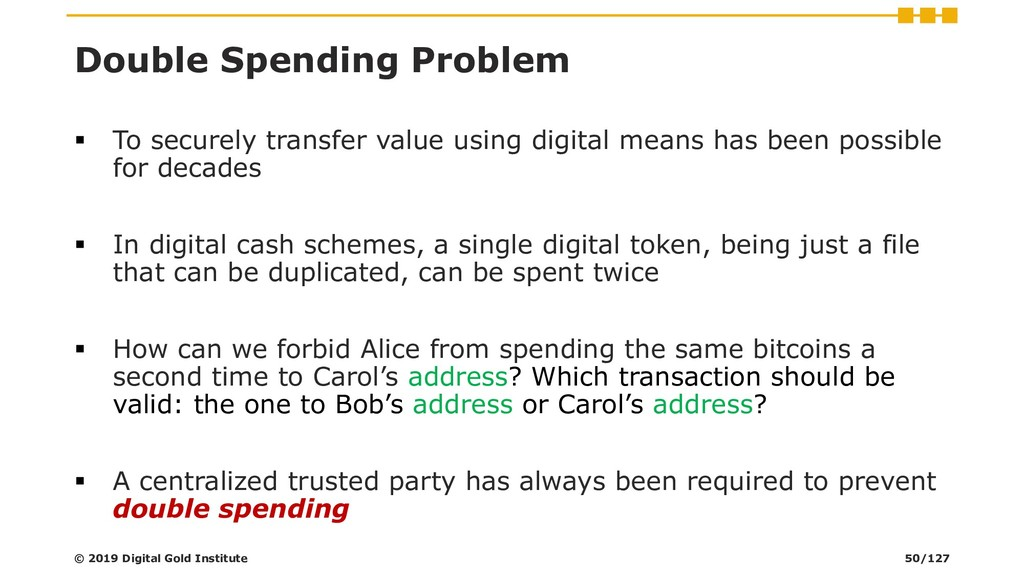 Double Spending Problem ▪ To securely transfer ...