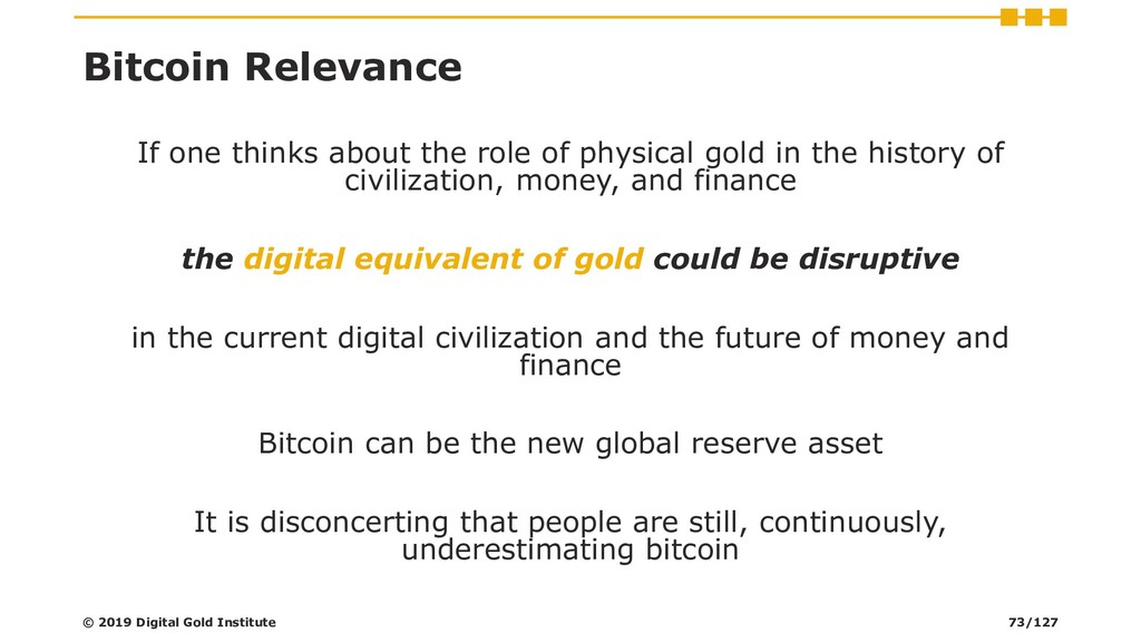 Bitcoin Relevance If one thinks about the role ...