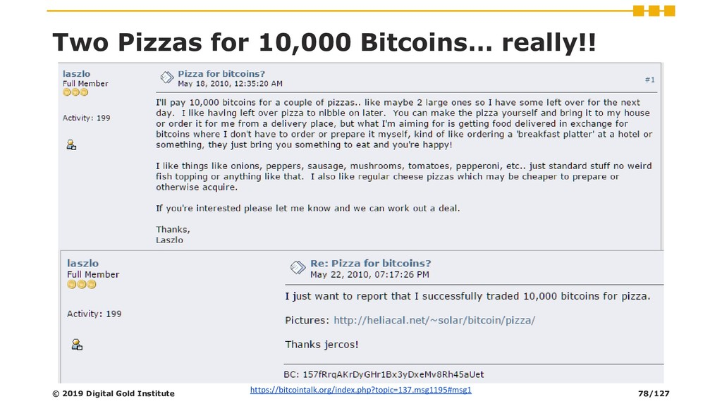 Two Pizzas for 10,000 Bitcoins… really!! https:...