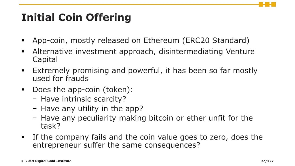 Initial Coin Offering ▪ App-coin, mostly releas...
