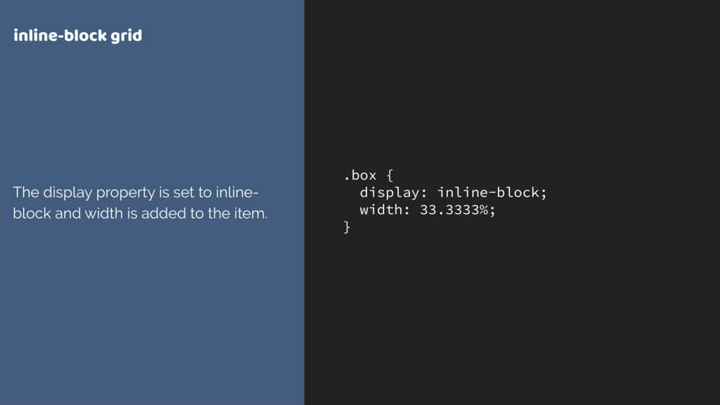 .box { display: inline-block; width: 33.3333%; ...